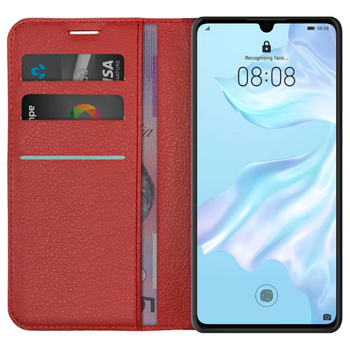 Leather Wallet Case & Card Holder Pouch for Huawei P30 - Red